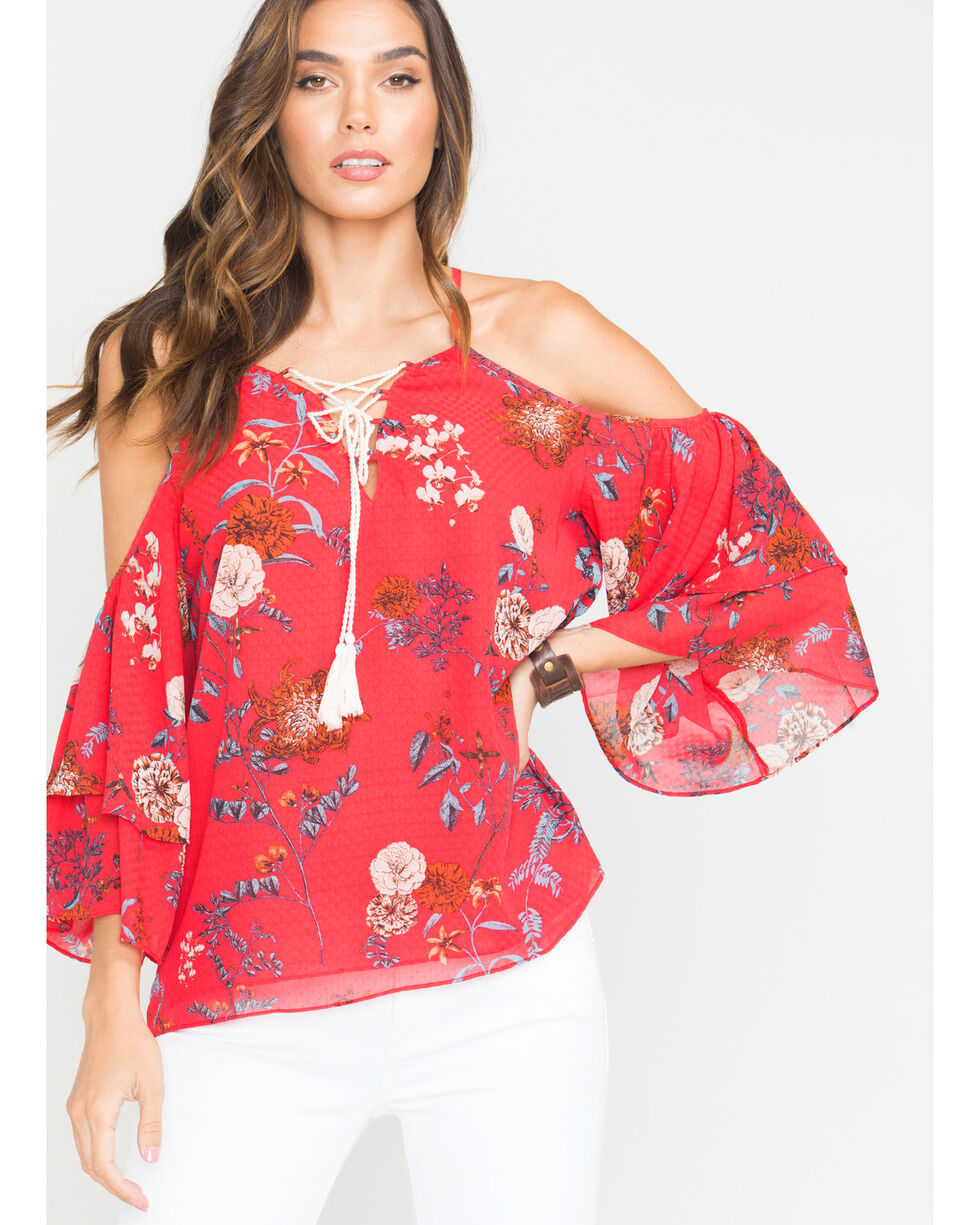 Miss Me Women's Hooked On You Open Shoulder Top , Red, hi-res