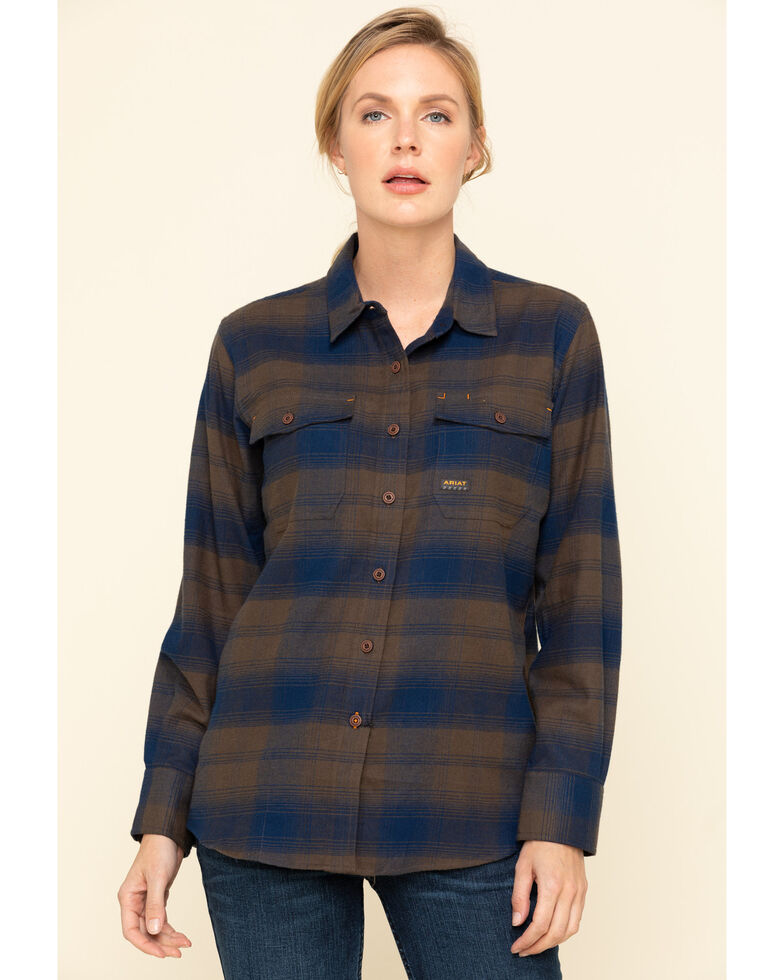 Ariat Women's Navy Plaid Rebar Flannel Durastretch Long Sleeve Work Shirt, Navy, hi-res