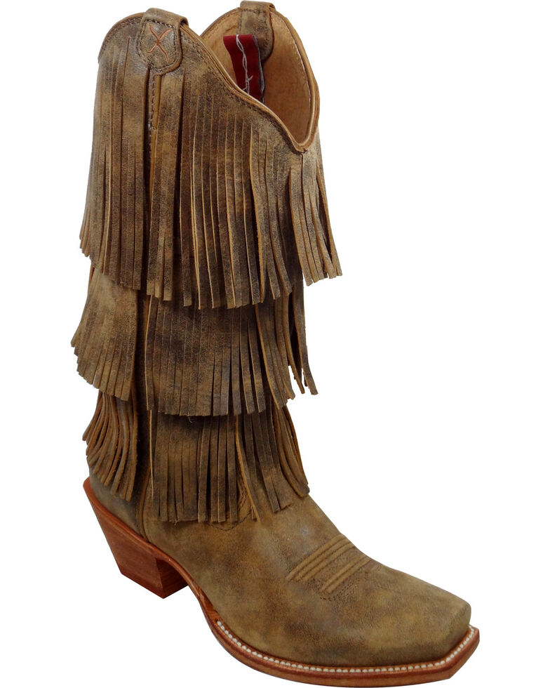 Twisted X Women's Steppin' Out Fringe Western Boots, Bomber, hi-res