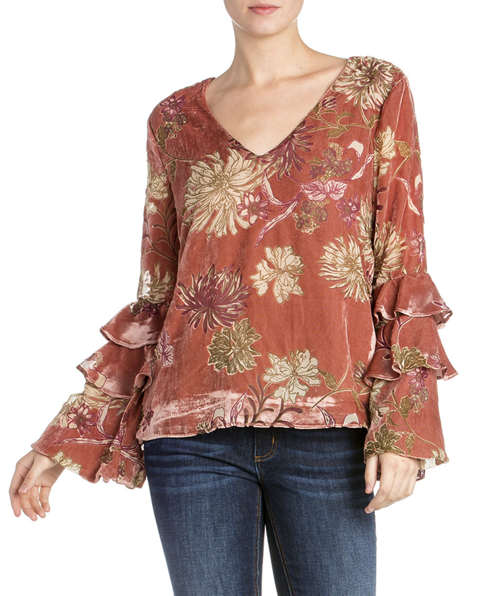 Miss Me Women's Floral Layered Ruffle Long Sleeve Top , Mauve, hi-res