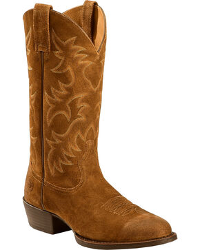 Ariat Men's Suede Heritage Western R Toe Boots, Antique Chocolate, hi-res