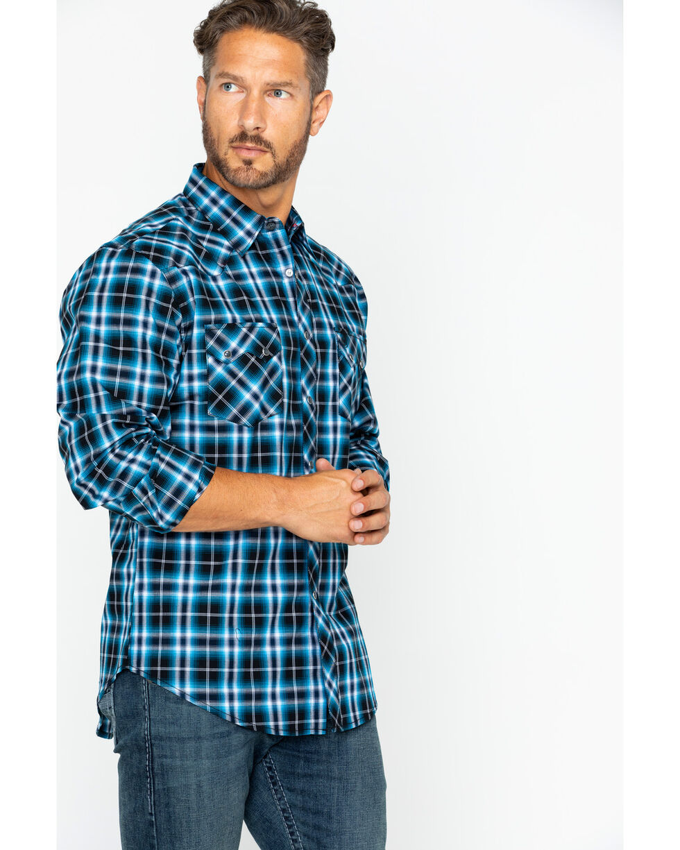 Wrangler Men's Retro Premium Plaid Long Sleeve Shirt, Black/blue, hi-res