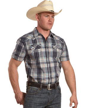 Moonshine Spirit Men's Tepic Plaid Short Sleeve Western Shirt, Grey, hi-res