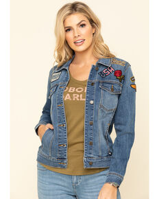 Idyllwind Women's Trucker Patched Denim Jacket, Blue, hi-res