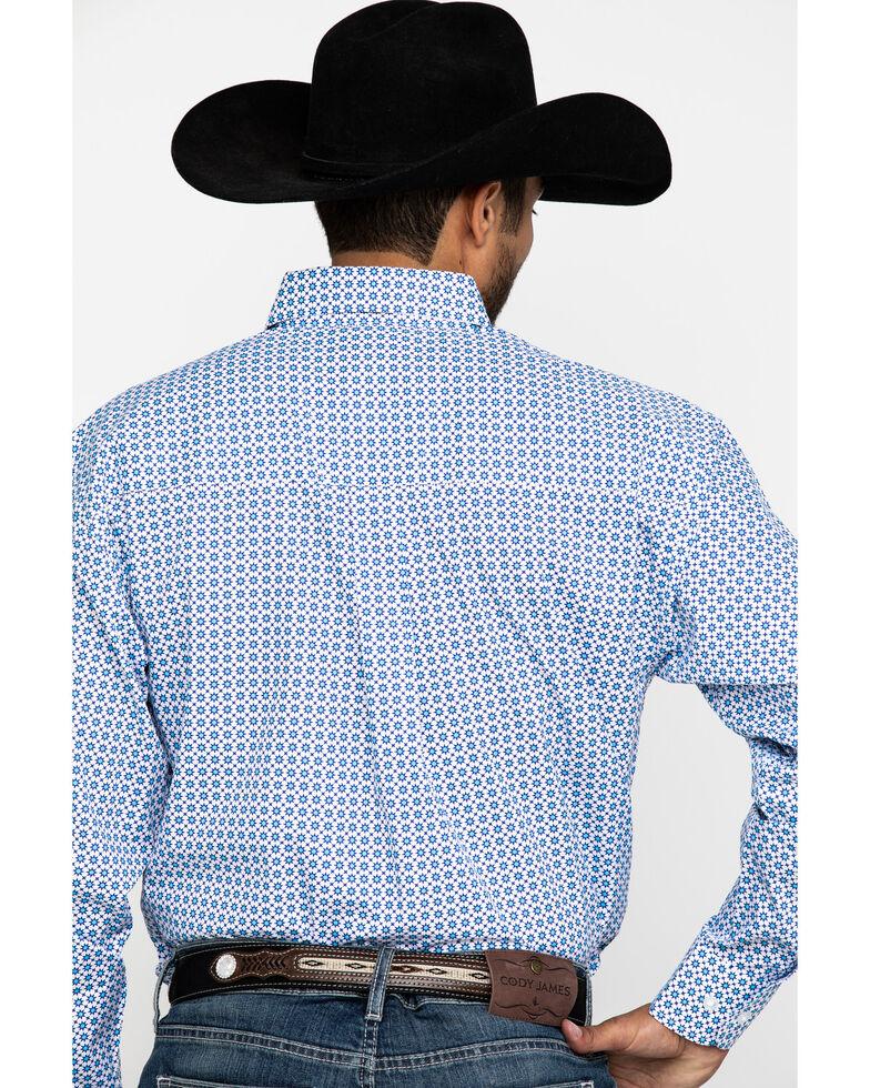 George Strait by Wrangler Men's Light Turquoise Geo Print Long Sleeve Western Shirt , Turquoise, hi-res