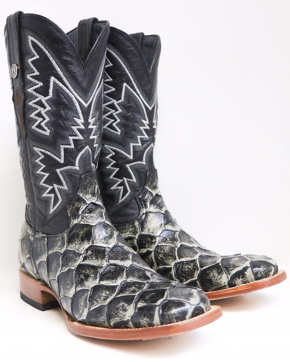 Tanner mark Men's Rustic Fish Print Western Boots - Square Toe, Black, hi-res