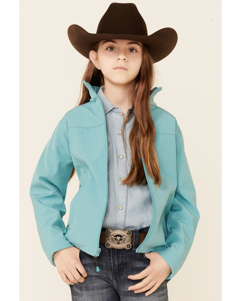 Panhandle Girls' Softshell Performance Jacket, Jade, hi-res