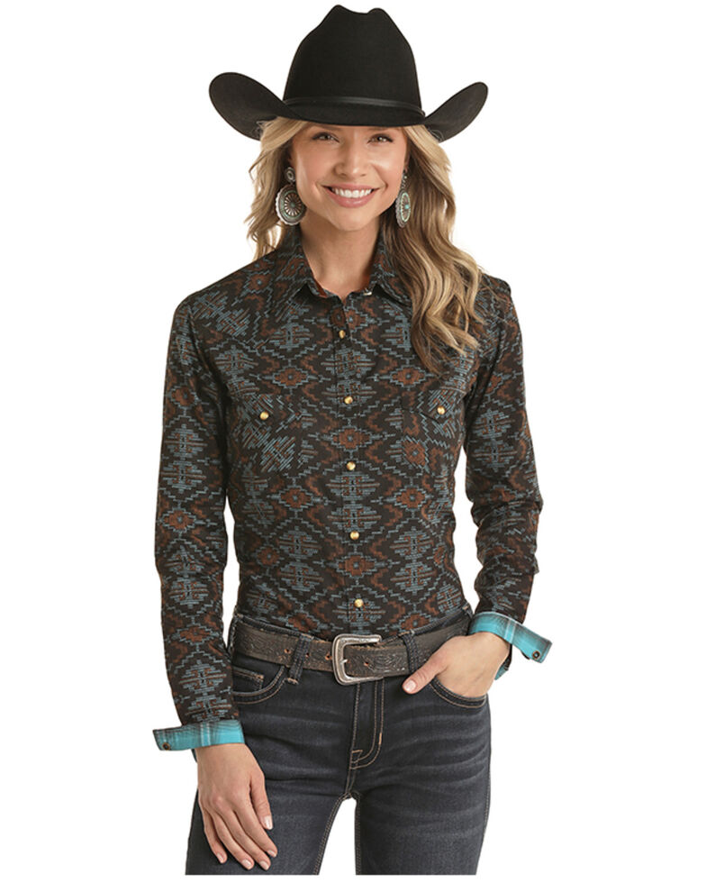Panhandle Women's Multi Aztec Print Long Sleeve Western Shirt - Plus, Multi, hi-res