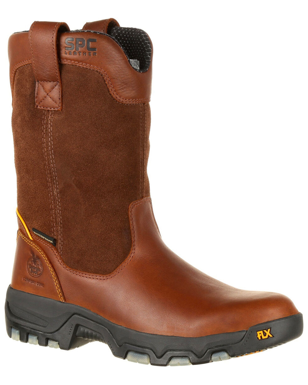 "Georgia Boot Men's FLXPoint 10"" Waterproof Work Boots - Round Toe, Dark Brown, hi-res"