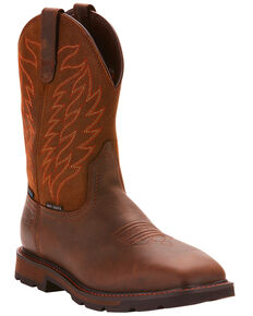 Ariat Men's Brown Groundbreaker H20 Wide Square Toe Boots - Steel Toe , Dark Brown, hi-res