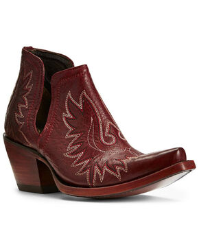 Ariat Women's Dixon Sangria Western Booties - Snip Toe, Wine, hi-res