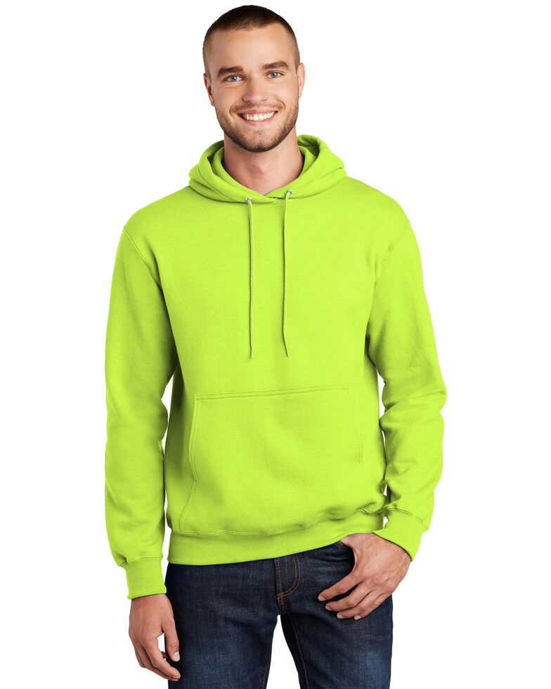Port & Company Men's Safety Green 2X Essential Hooded Work Sweatshirt - Tall , Green, hi-res