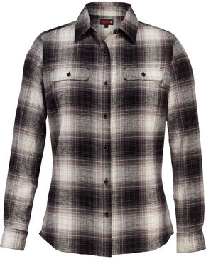 Wolverine Women's Aurora Flannel Work Shirt , Black, hi-res
