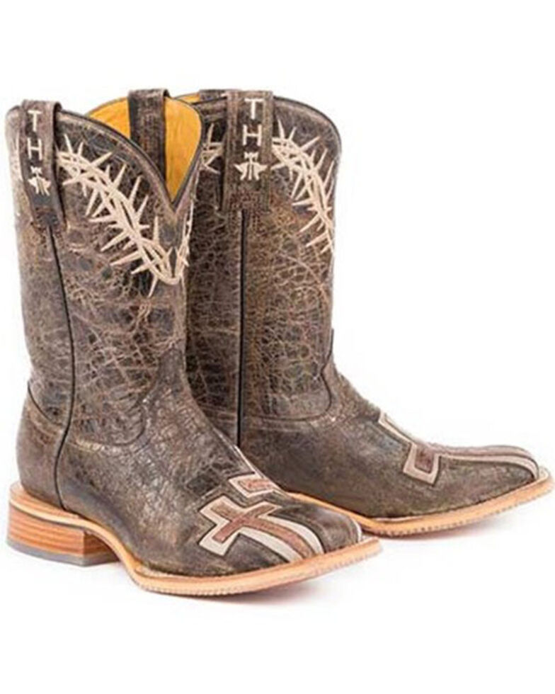 Tin Haul Women's My Savior Western Boots - Wide Square Toe, Brown, hi-res