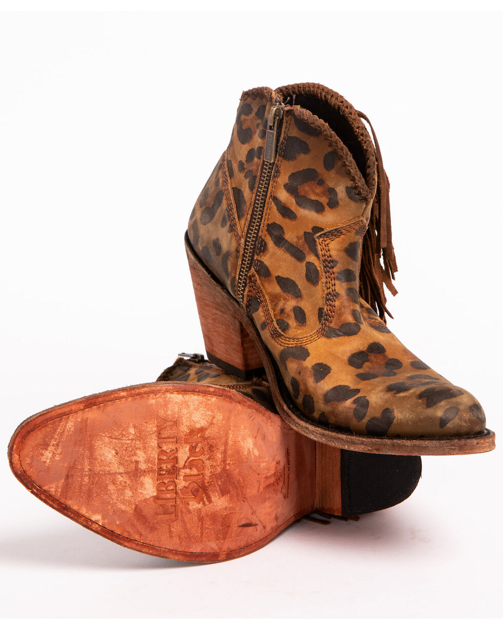 Liberty Black Women's Chita Miel Fringe Boots - Medium Toe, Cheetah, hi-res