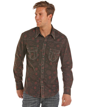 Rock & Roll Cowboy Men's Poplin Paisley Print Long Sleeve Western Shirt , Red, hi-res