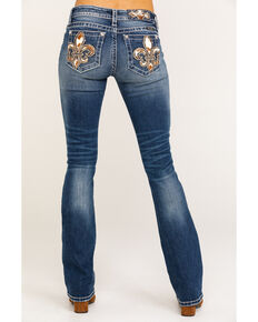 Miss Me Women's Medium Fleur-de-lis Cow Print Bootcut Jeans, Blue, hi-res