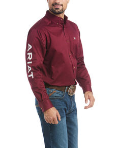 Ariat Men's Burgundy Team Logo Solid Twill Long Sleeve Western Shirt , Multi, hi-res