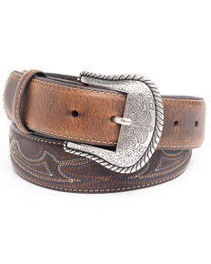 Cody James Men's Turquoise Stitched Longhorn Buckle Belt, Brown, hi-res
