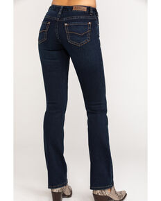 Rock & Roll Cowgirl Women's Extra Stretch Mid Rise Dark Wash Bootcut Jeans, Blue, hi-res