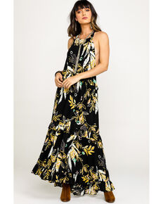 Free People Women's Anita Printed Maxi Dress, Black, hi-res