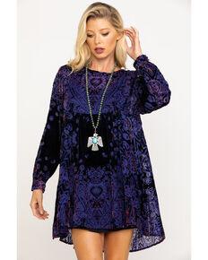 Free People Women's Mirror Mirror Velvet Jacquard Babydoll Dress, Black, hi-res