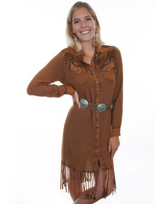 Honey Creek by Scully Women's Button Up Fringe Dress, Rust Copper, hi-res