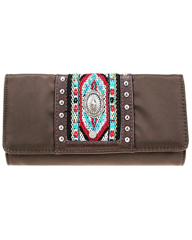 Montana West Women's Aztec Beaded Wallet, Dark Brown, hi-res