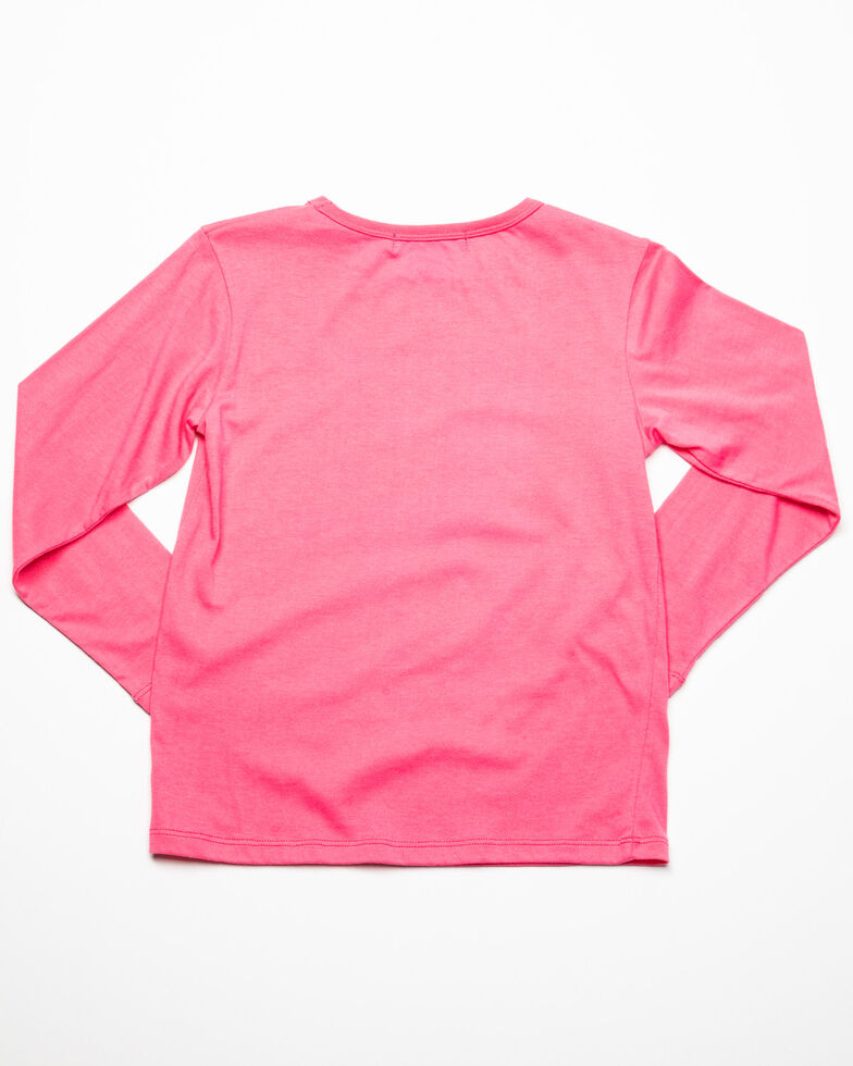 Rock & Roll Cowgirl Girls' Born To Ride Graphic Long Sleeve Shirt  , Pink, hi-res