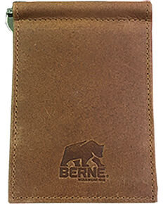 Berne Men's Tan Genuine Leather Money Clip Wallet , Tan, hi-res