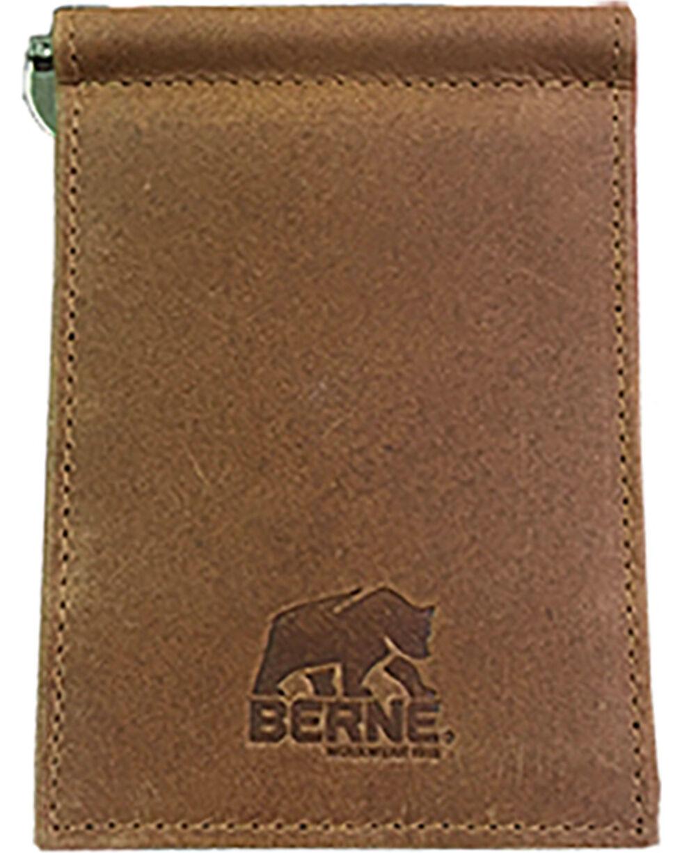 Berne Men's Tan Genuine Leather Money Clip Wallet , Tan, hi-res