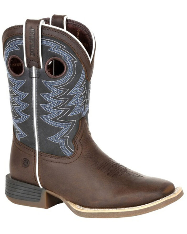 Durango Boys' Lil Rebel Pro Western Boots - Square Toe, Brown/blue, hi-res