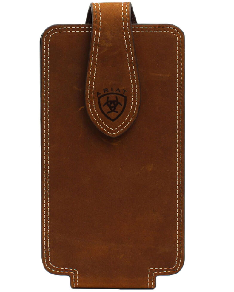 Ariat Double Stitched Cell Phone Case, Brown, hi-res