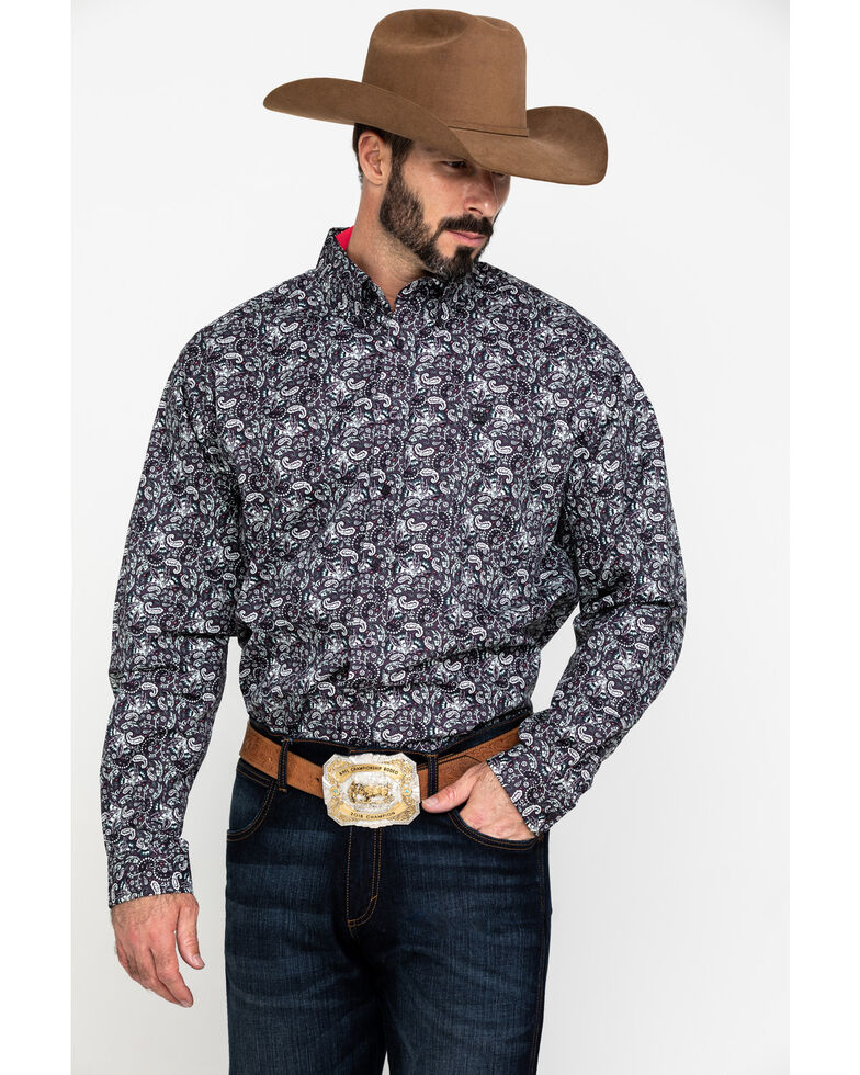 Cinch Men's Multi Paisley Print Weave Long Sleeve Western Shirt , Multi, hi-res