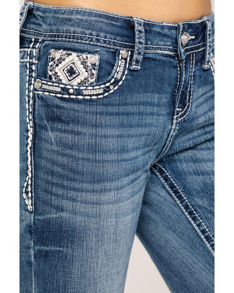 Grace in LA Women's Mid Aztec Diamond Bootcut Jeans, Blue, hi-res