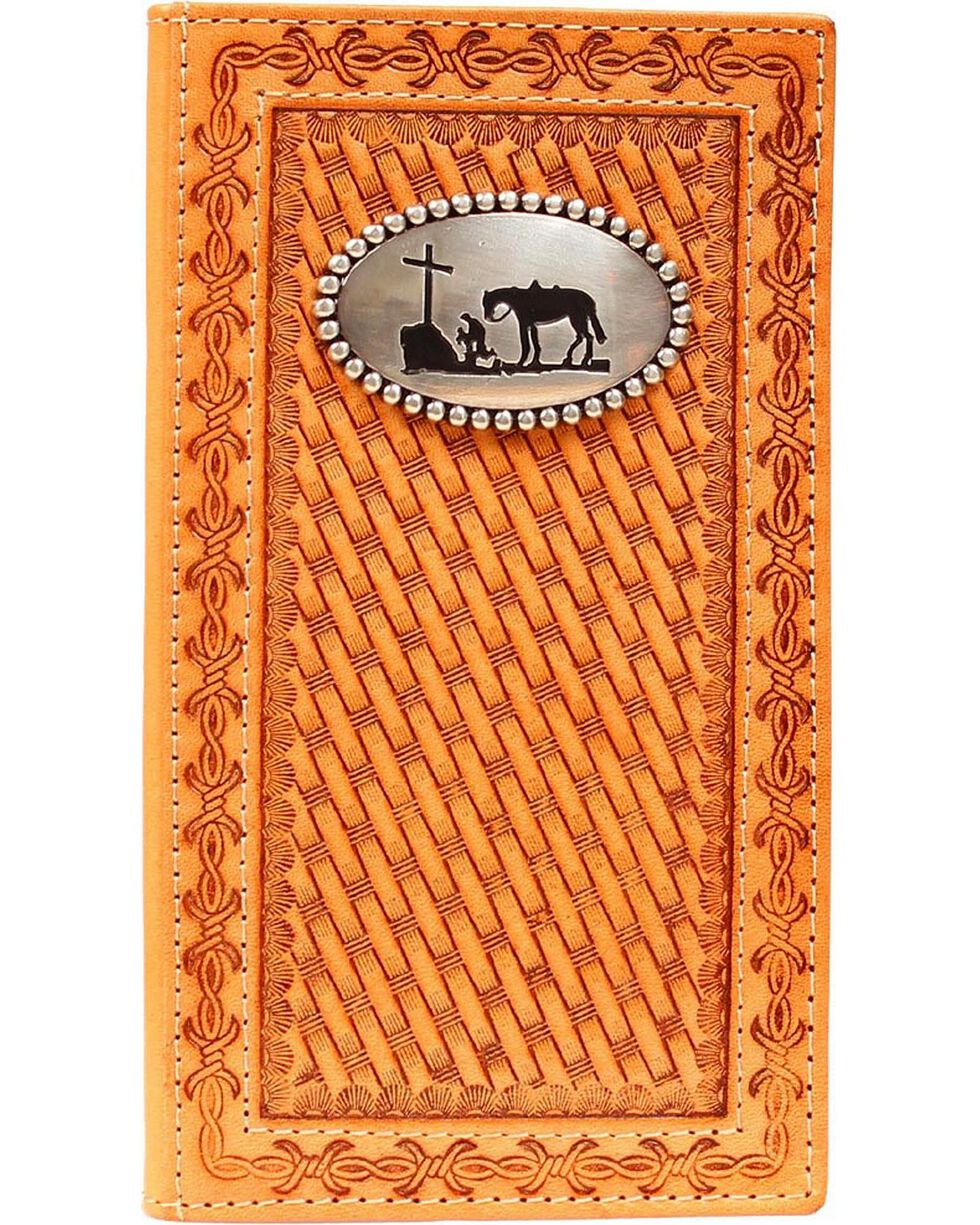 Nocona Basketweave Cowboy Prayer Concho Rodeo Wallet, Natural, hi-res