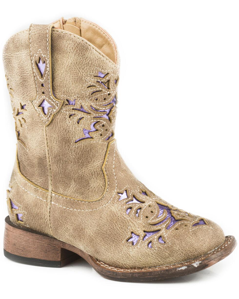 Roper Toddler Girls' Lola Tan Metallic Underlay Cowgirl Boots - Square Toe, Tan, hi-res