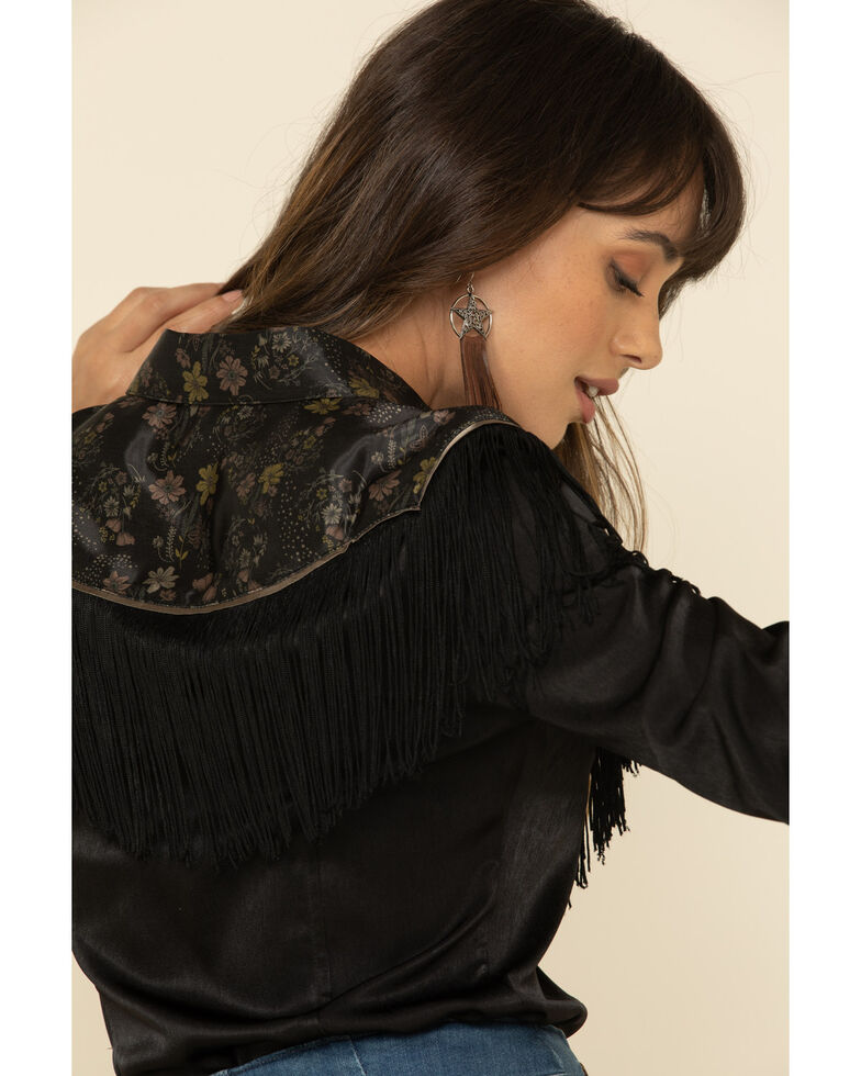 Idyllwind Women's Floral Print Mixed Long Sleeve Western Fringe Top , , hi-res