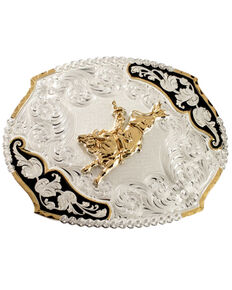 Montana Silversmiths Bucking Bronco Belt Buckle, Silver, hi-res
