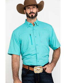Ariat Men's Turquoise Solid VentTEK Short Sleeve Western Shirt , Turquoise, hi-res