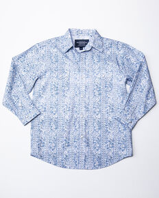 Rough Stock By Panhandle Boys' Lamond Vintage Print Long Sleeve Western Shirt , Blue, hi-res