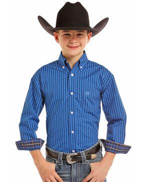 Pandhandle Boys' Poplin Print Long Sleeve Western Shirt, Blue, hi-res