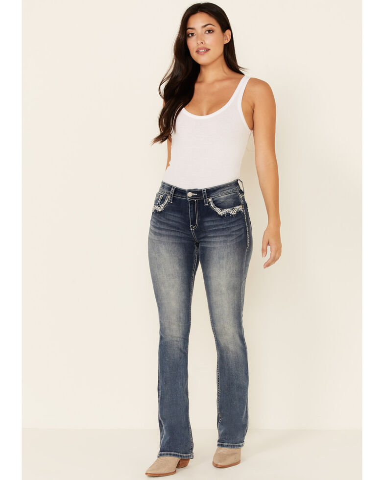Grace in LA Women's Stacked Chevron Bootcut Jeans, Medium Blue, hi-res