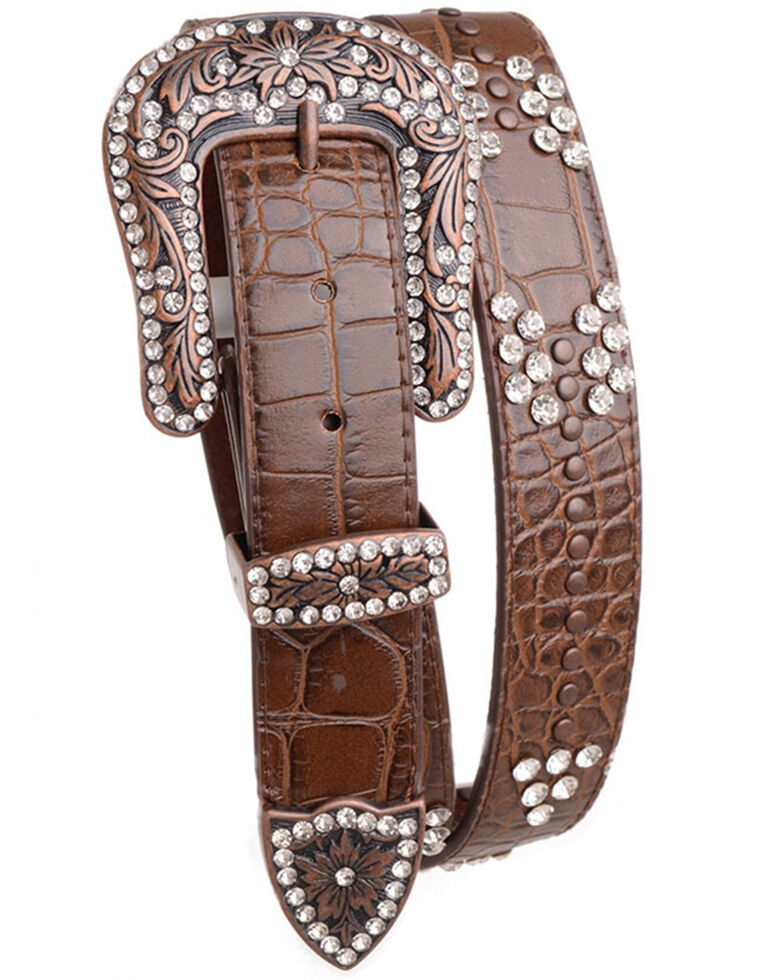 Shyanne Women's Croc Print Bling Arrow Belt, Brown, hi-res