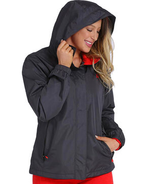 Cinch Women's Hydrographic Print Rain Jacket, Charcoal, hi-res