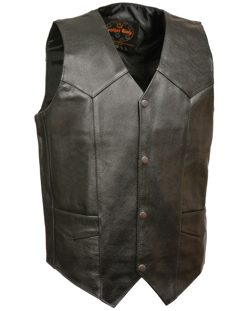 Milwaukee Leather Men's Black Snap Front Biker Vest - Extra Big, Black, hi-res