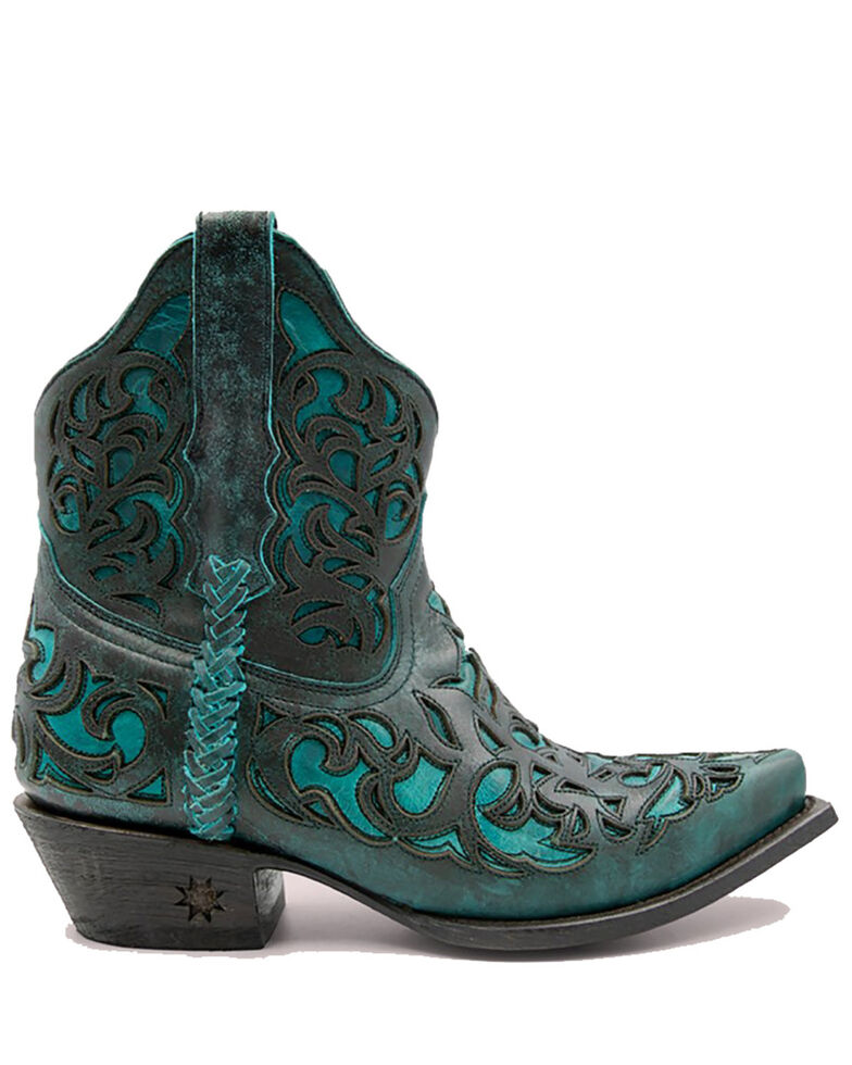Black Star Women's Terlingua Western Booties - Snip Toe, Aqua, hi-res