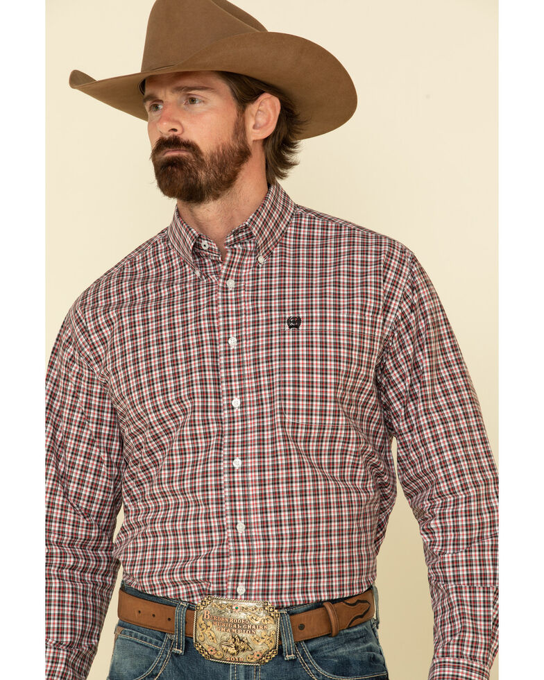 Cinch Men's Multi Small Plaid Plain Weave Long Sleeve Western Shirt - Big , Purple, hi-res