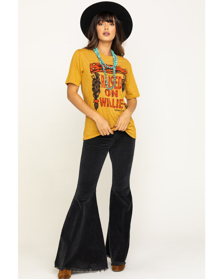 Bohemian Cowgirl Women's Mustard Raised on Willie Tee, Dark Yellow, hi-res
