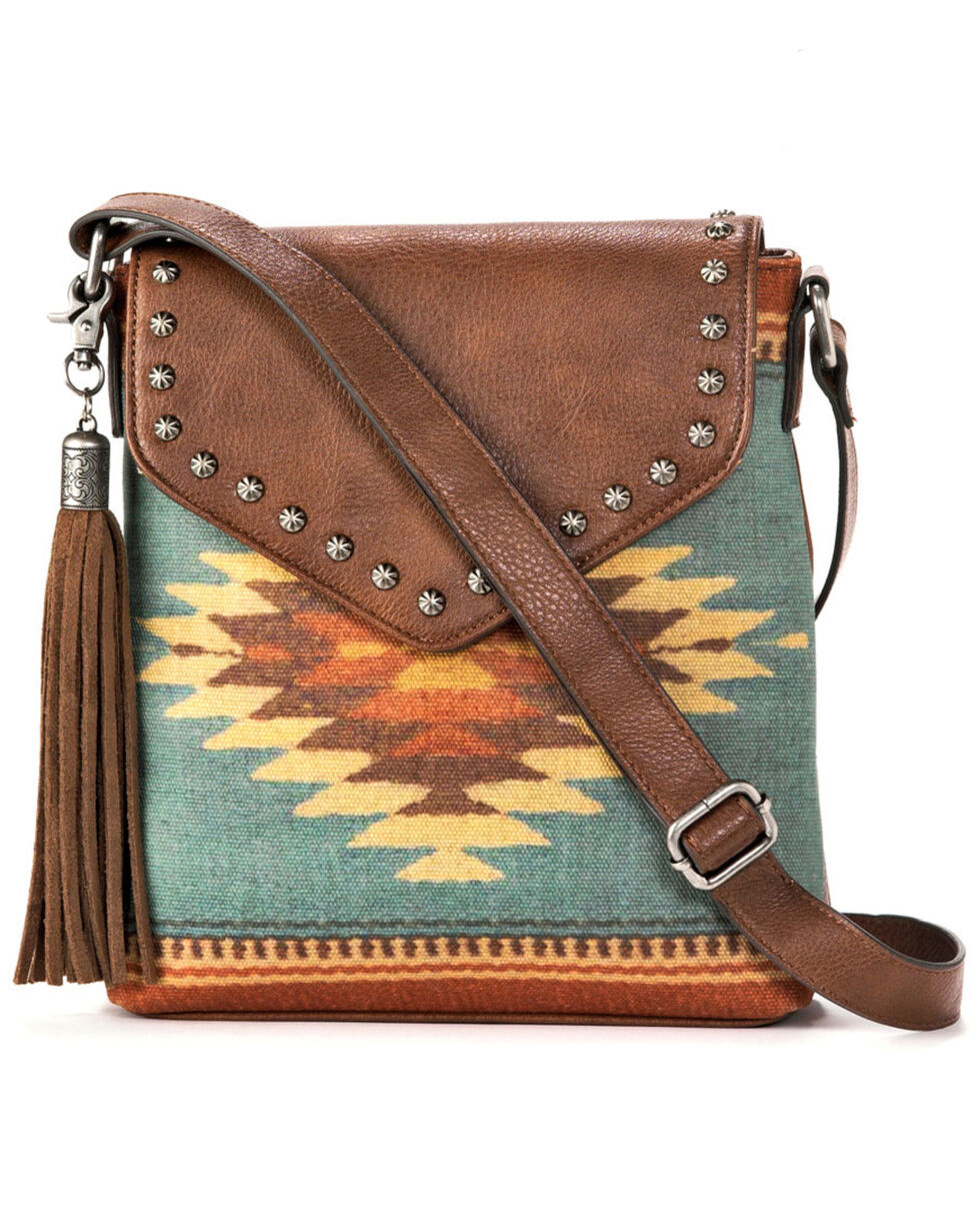 M&F Western Women's Zapotec Messenger Bag, Brown, hi-res